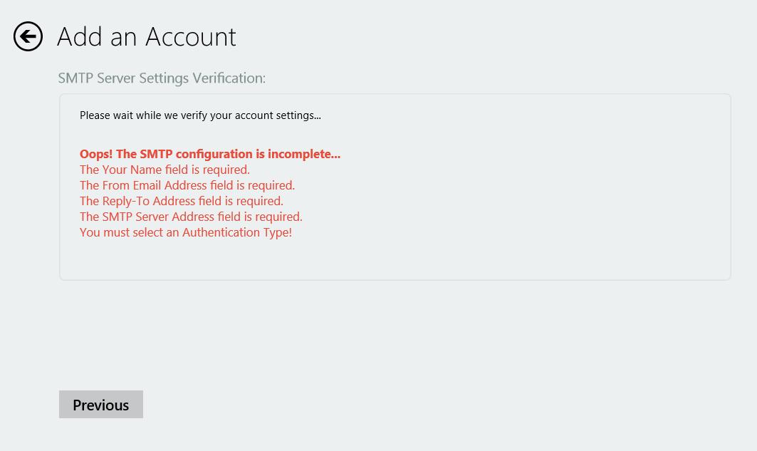 SMTP Wizard Verification